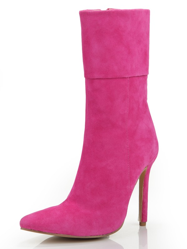 New Stiletto Heel Closed Toe Suede Zipper Mid-Calf Fuchsia Boots