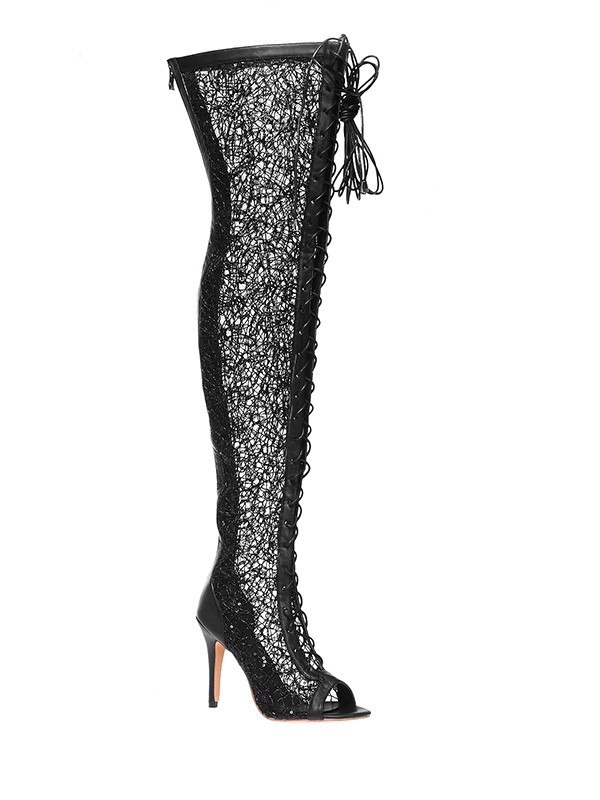 New Lace Platform Peep Toe Stiletto Heel Lace-up Over The Knee Boots