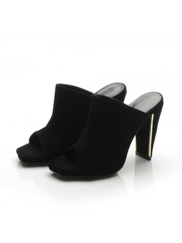 New Peep Toe Platform Chunky Heel Suede Sandals Shoes