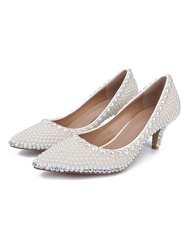 New Patent Leather Closed Toe Cone Heel Wedding Shoes