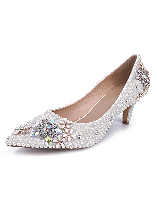 New Cone Leather Closed Toe Wedding Shoes