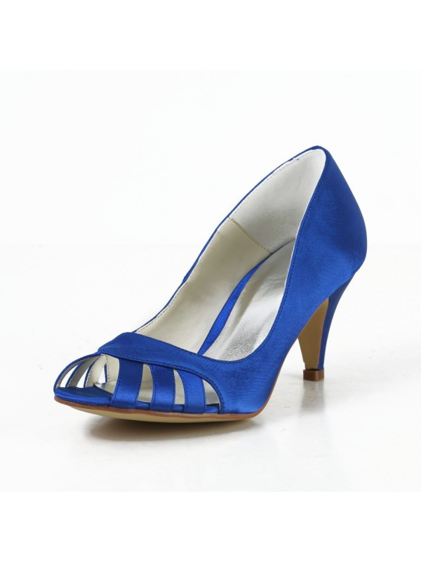 New Satin Cone Heel Peep Toe Pumps High Heels Hollow-out