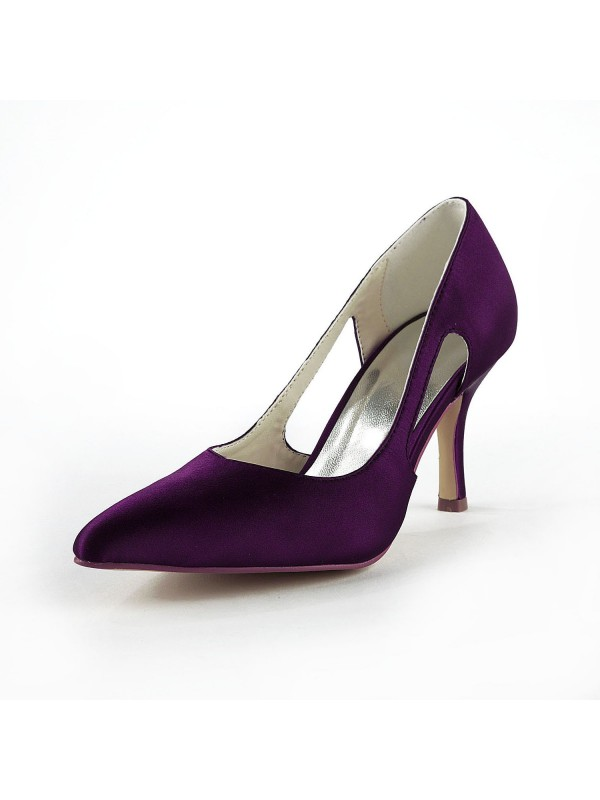 New Satin Stiletto Heel Closed Toe Pumps Grape Wedding Shoes