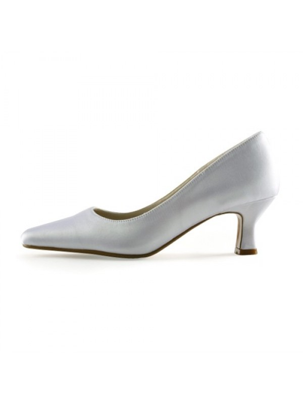 New Satin Upper Chunky Heel Pointed Toe Wedding Shoes