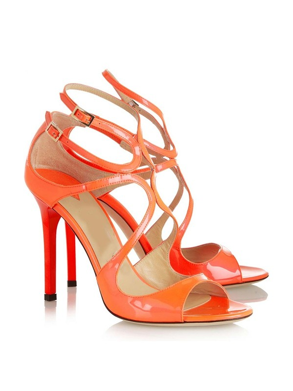 New Peep Toe Patent Leather Stiletto Heel Buckle Sandals Shoes