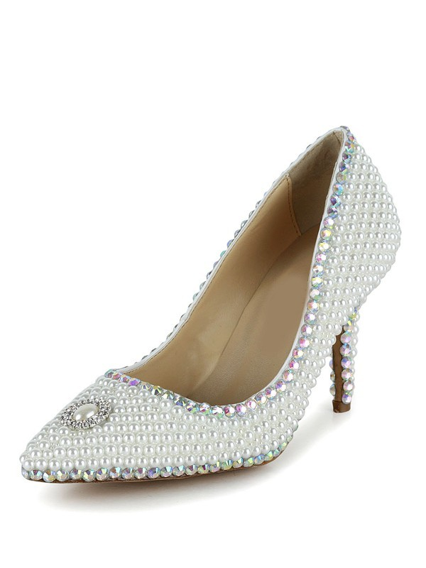 New Closed Toe Stiletto Leather Wedding Shoes
