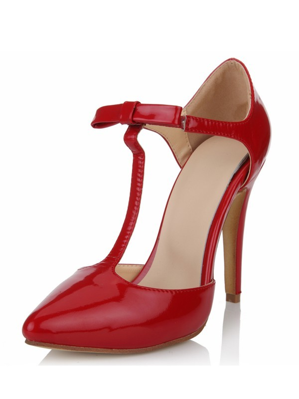 New Patent Leather Stiletto Heel Closed Toe T-Strap High Heels