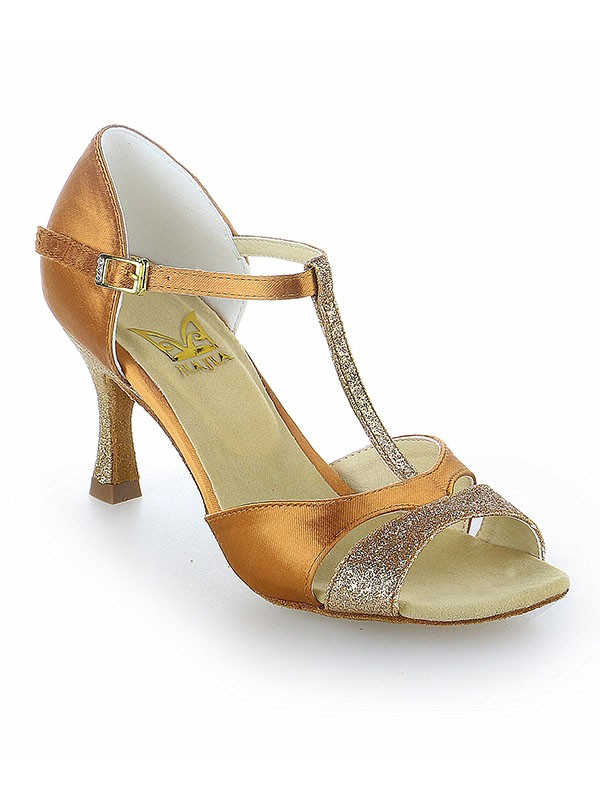 New Satin Peep Toe Buckle Stiletto Heel Dance Shoes