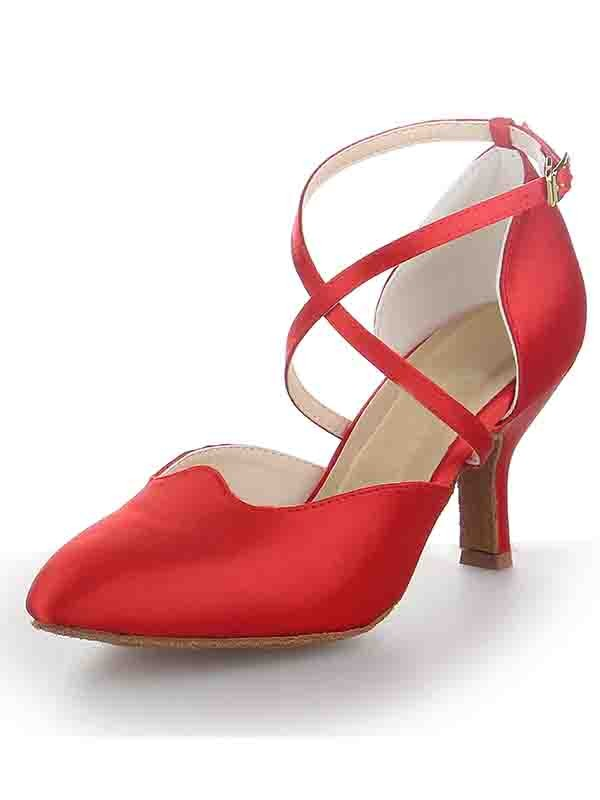 New Satin Stiletto Heel Close Toe Buckle Dance Shoes