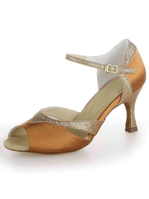 New Satin Peep Toe Stiletto Heel Sparkling Glitter Dance Shoes