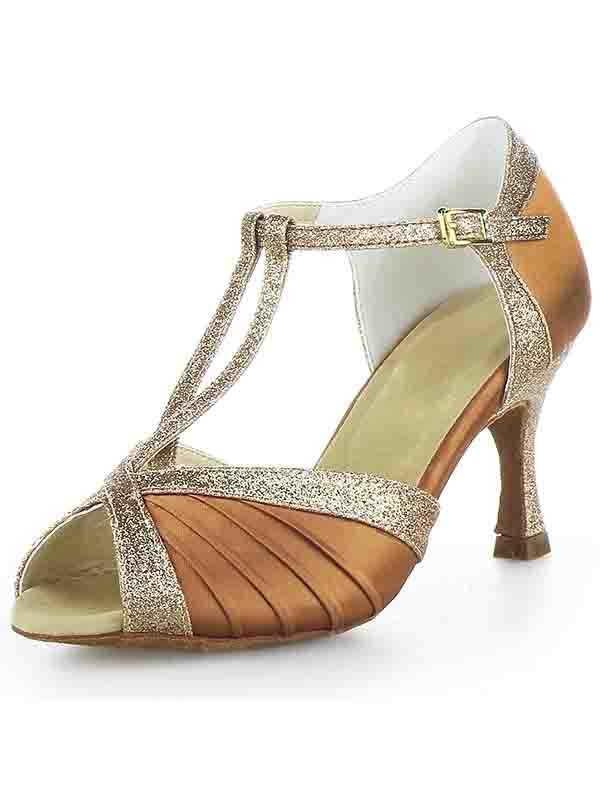 New Stiletto Heel Satin Peep Toe Buckle Sparkling Glitter Dance Shoes