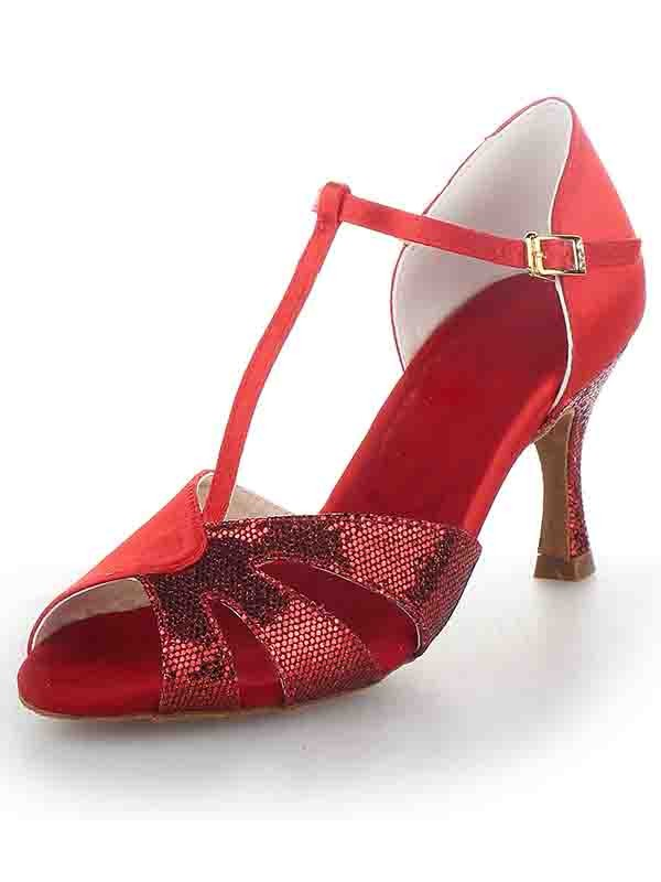 New T-Strap Peep Toe Stiletto Heel Satin Sparkling Glitter Dance Shoes