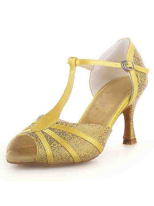New Peep Toe Stiletto Heel Satin Buckle Sparkling Glitter Dance Shoes
