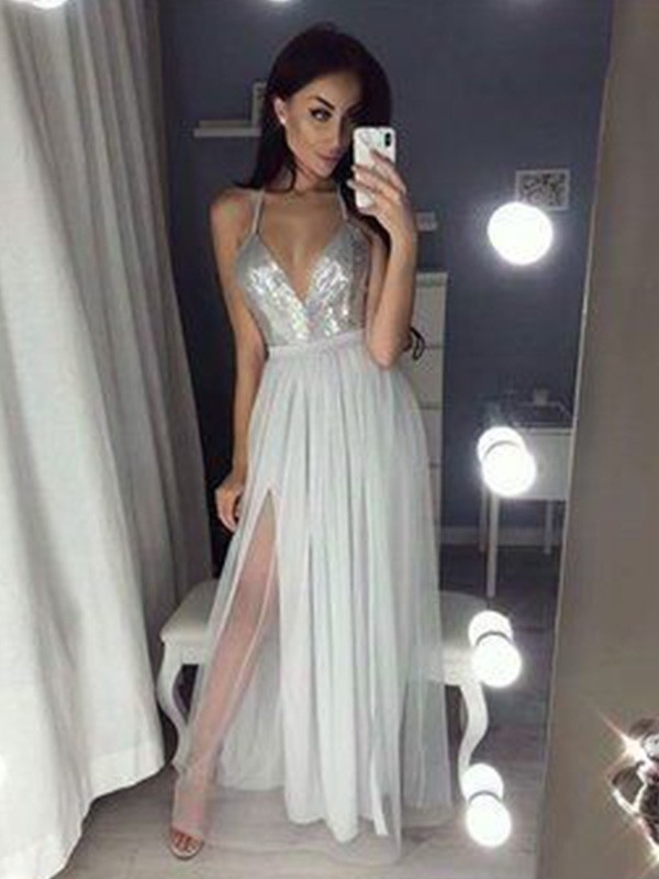 A-Line/Princess Straps V-neck Chiffon Long Dress