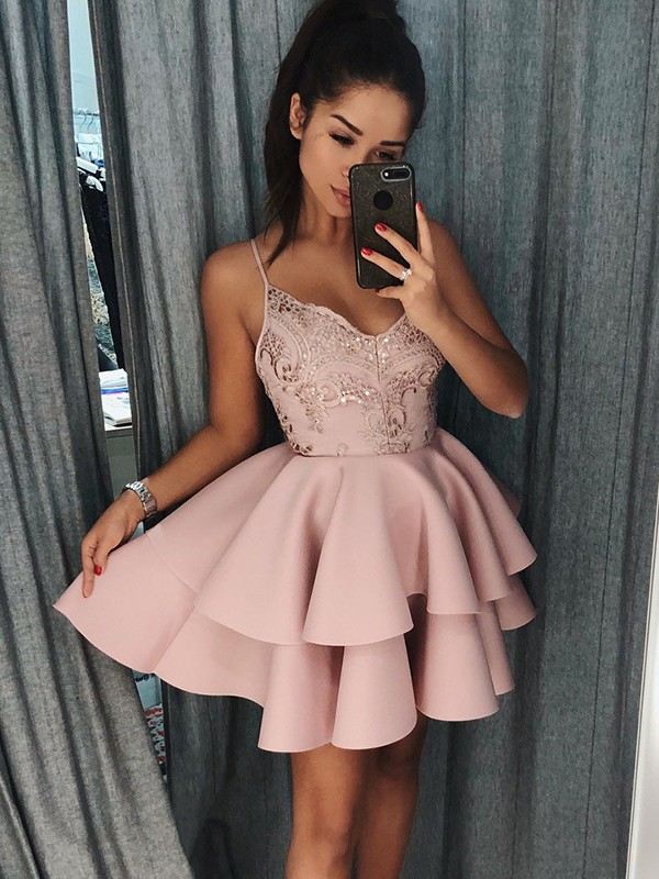 A-Line/Princess Spaghetti Straps Satin Short Dress