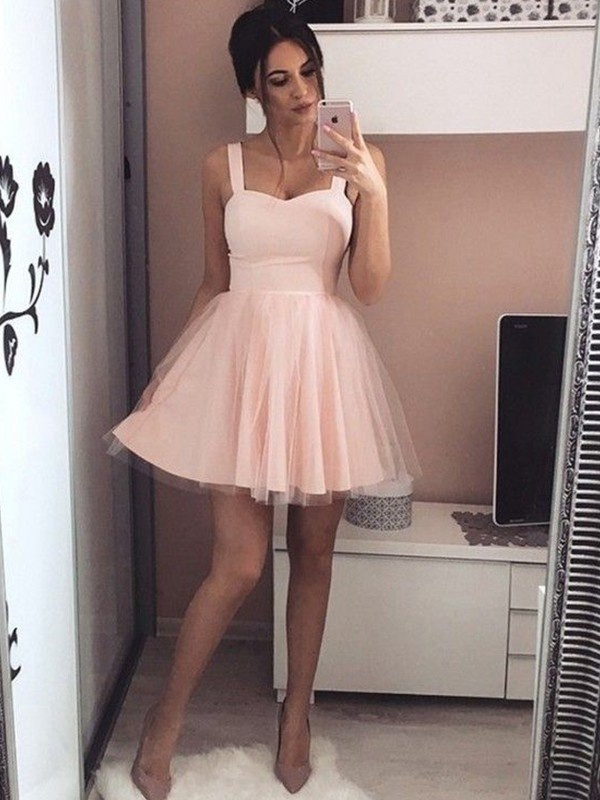 A-Line/Princess Satin Straps Short Dress