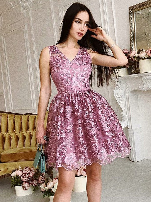 A-Line/Princess V-Neck Organza Short Dress