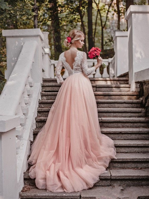 Ball Gown V-neck Long Long Sleeves Tulle Wedding Dress