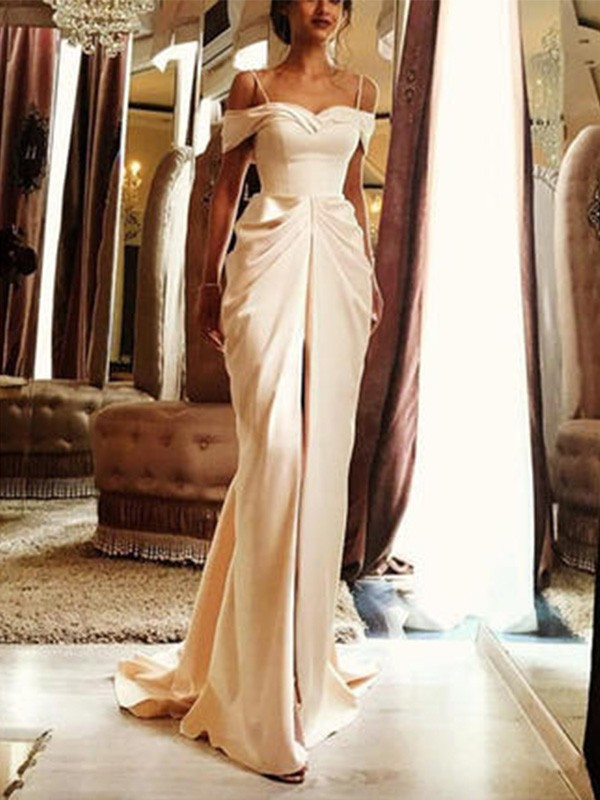 Sheath/Column Long Off-the-Shoulder Short Sleeves Silk like Satin Wedding Dress