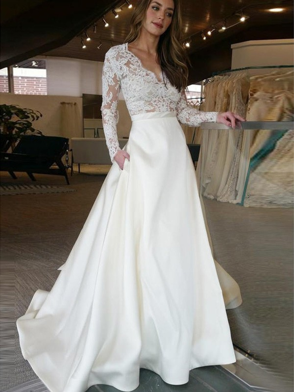 A-Line/Princess Long Sleeves Long V-neck Satin Wedding Dress