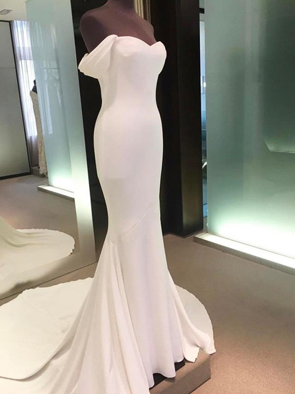 Sheath/Column Off-the-Shoulder Short Sleeves Long Spandex Wedding Dress