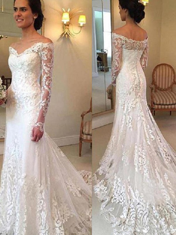 Mermaid Off-the-Shoulder Long Long Sleeves Lace Wedding Dress
