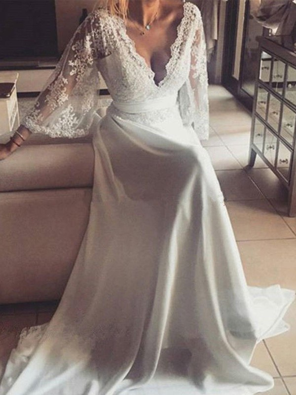 A-Line/Princess V-neck Long Sleeves Long Lace Wedding Dress