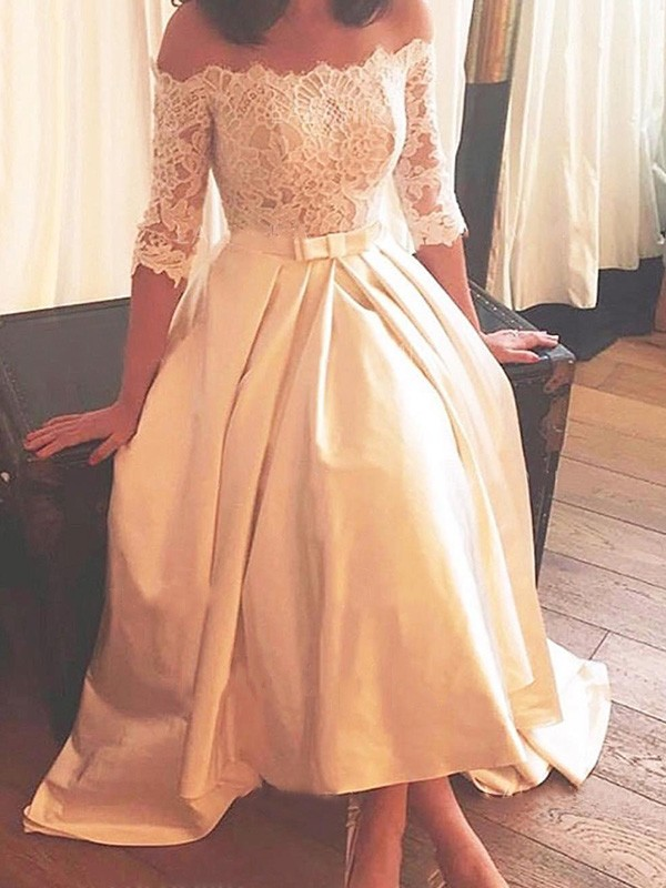 A-Line/Princess Off-the-Shoulder Asymmetrical Long 1/2 Sleeves Satin Wedding Dress