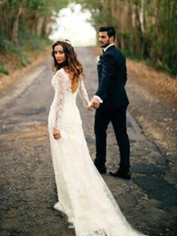 Sheath/Column Long Sleeves V-neck Long Lace Wedding Dress