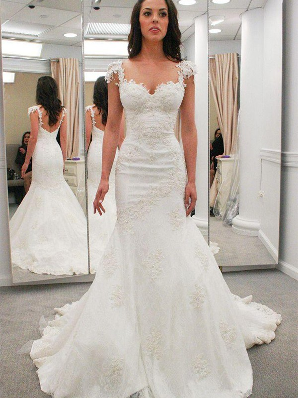 Mermaid Sweetheart Short Sleeves Long Lace Wedding Dress