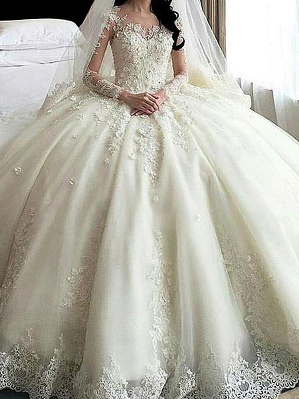 Ball Gown Scoop Long Long Sleeves Tulle Wedding Dress