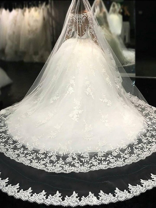 Ball Gown Scoop Long Sleeves Lace Long Tulle Wedding Dress