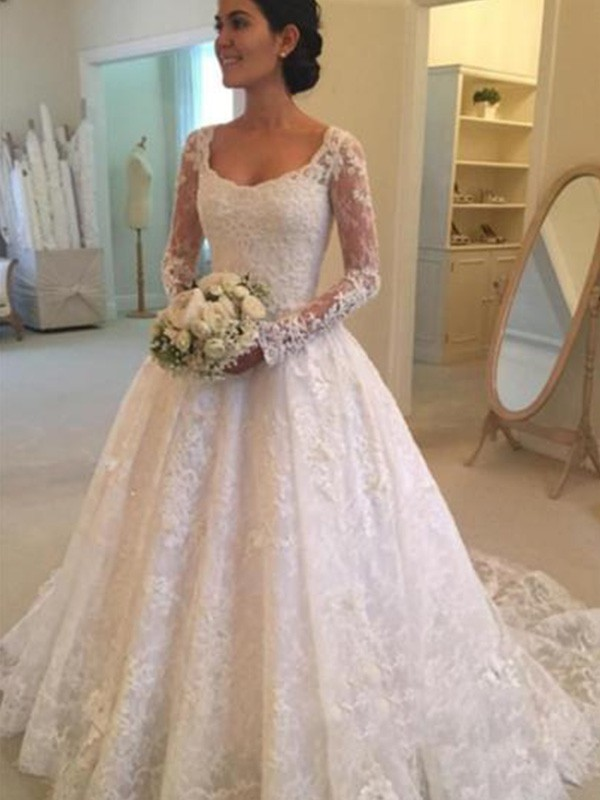 Ball Gown Long Sleeves Scoop Long Lace Wedding Dress