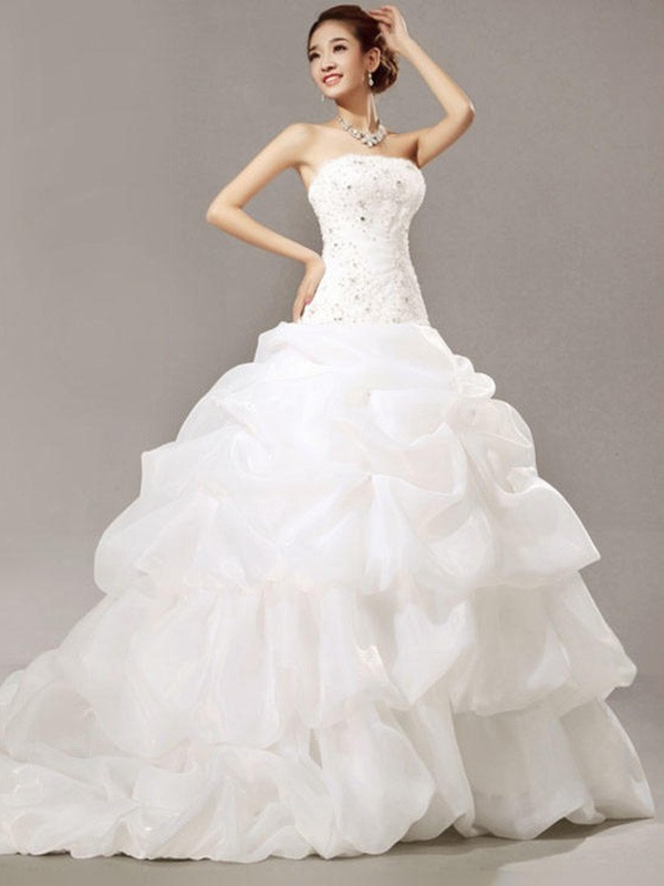 Ball Gown Strapless Long Lace Organza Wedding Dress