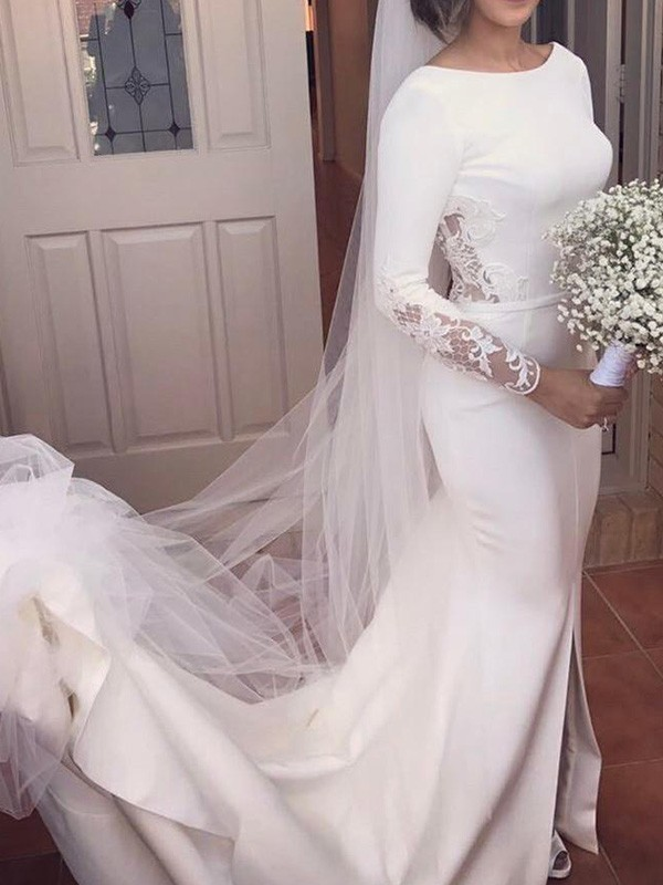 Mermaid Long Sleeves Scoop Long Satin Wedding Dress
