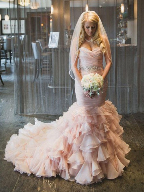 Mermaid Sweetheart Long Organza Wedding Dress
