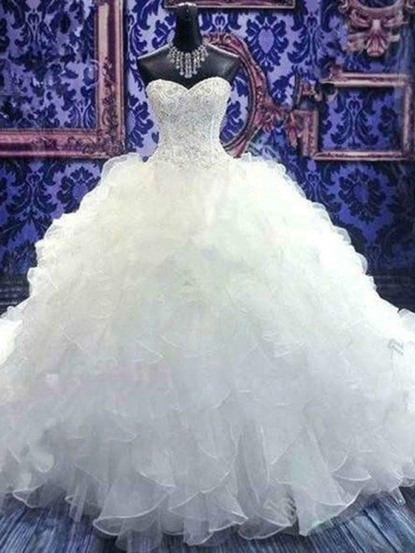 Ball Gown Sweetheart Long Sequins Organza Wedding Dress