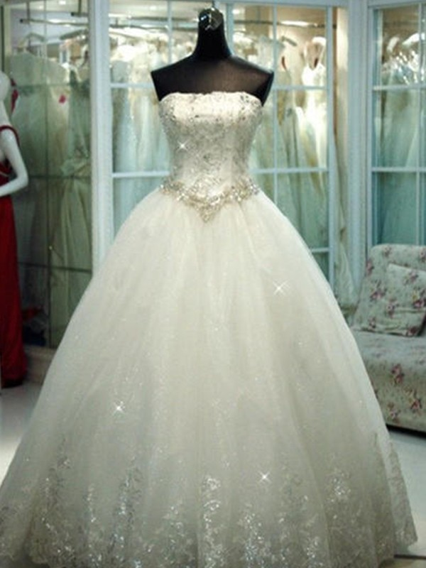 Ball Gown Strapless Tulle Long Wedding Dress