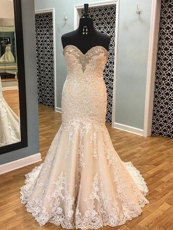 Mermaid Tulle Sweetheart Long Wedding Dress