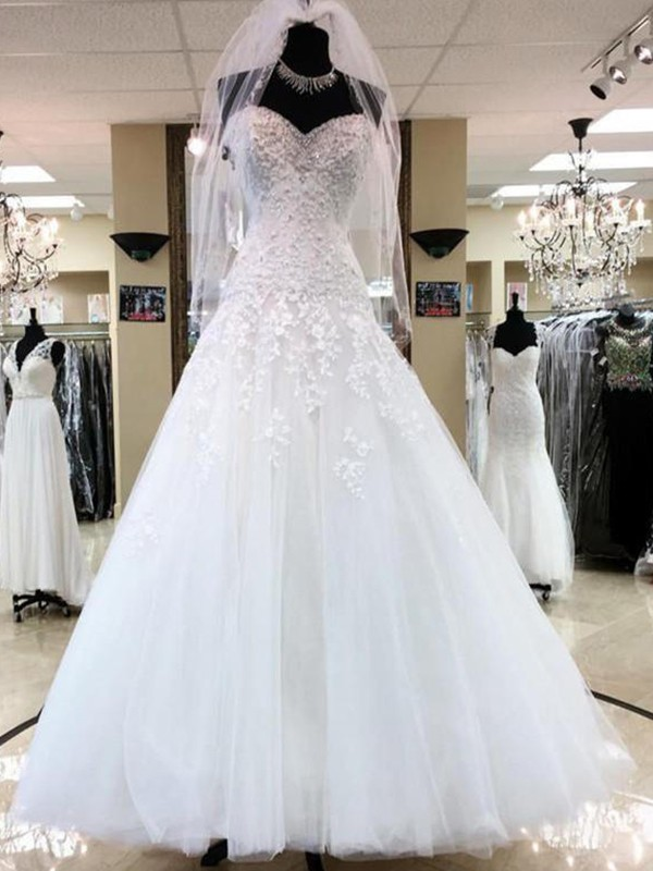 Ball Gown Sweetheart Tulle Long Wedding Dress