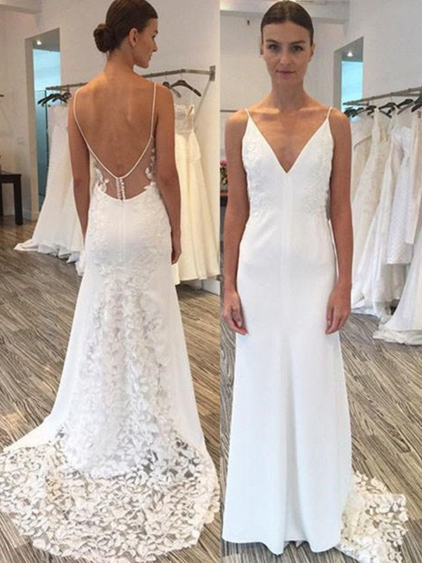 Sheath/Column Satin Spaghetti Straps Long Wedding Dress