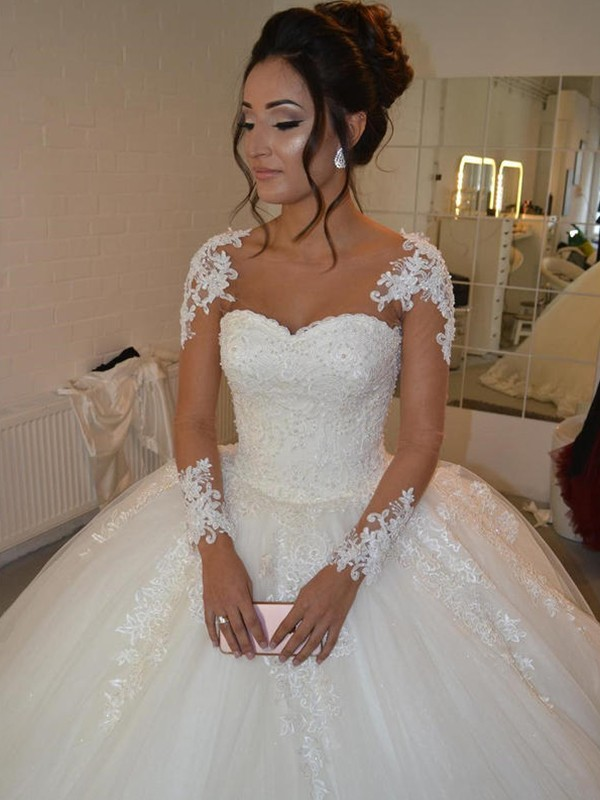 Ball Gown Tulle Long Sleeves Scoop Long Wedding Dress