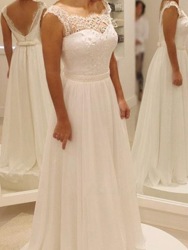 A-Line/Princess Chiffon Lace Scoop Long Wedding Dress
