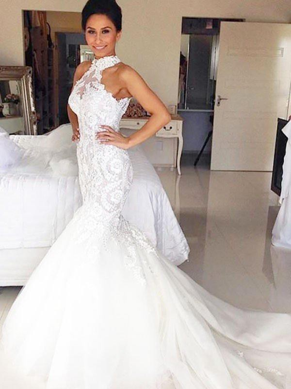 Mermaid Tulle Halter Long Wedding Dress