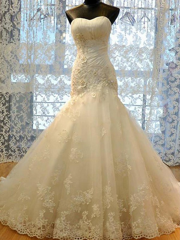 Mermaid Sweetheart Tulle Long Wedding Dress