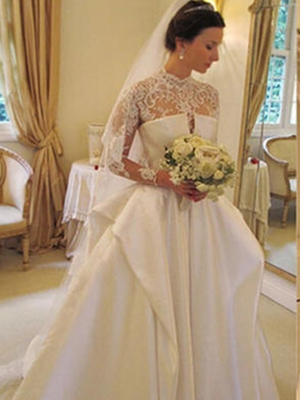 Ball Gown Satin High Neck Long Sleeves Long Wedding Dress