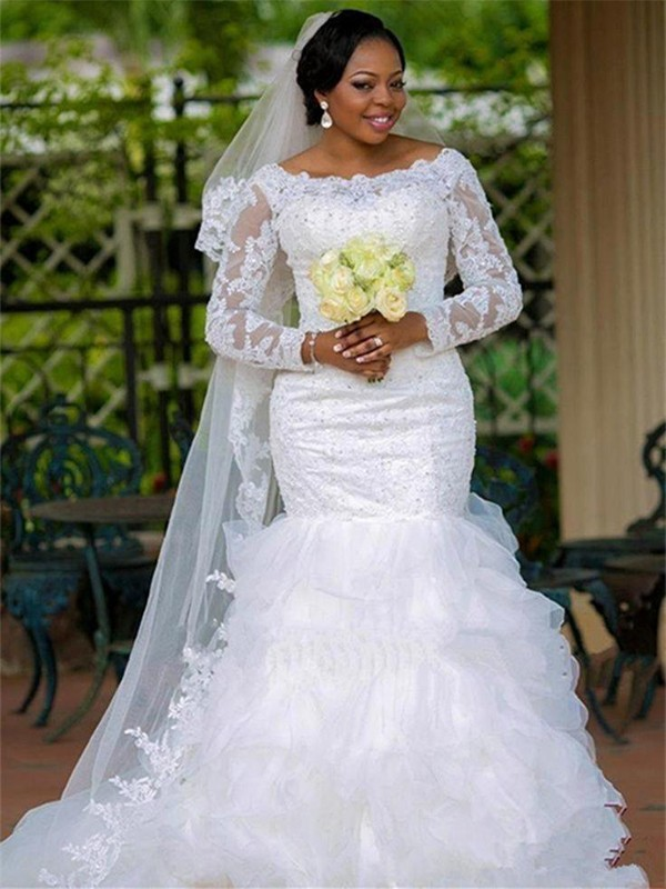 Mermaid Square Organza Long Sleeves Long Wedding Dress