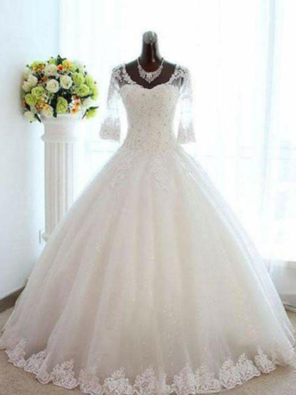 Ball Gown V-neck Tulle 3/4 Sleeves Bateau Long Wedding Dress
