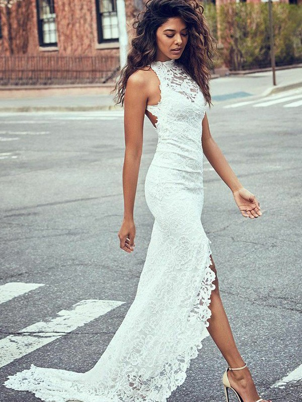 Mermaid Lace Halter Long Wedding Dress