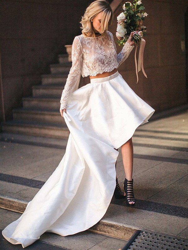 A-Line/Princess Satin Scoop Long Sleeves Long Two Piece Wedding Dress